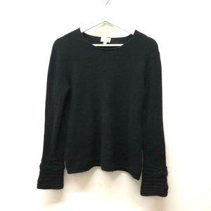 TSE Cashmere Black Sweater Cable Knit Cuffs